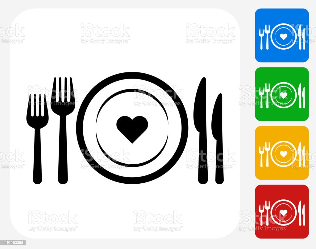 Love Plate Icon Flat Graphic Design vector art illustration
