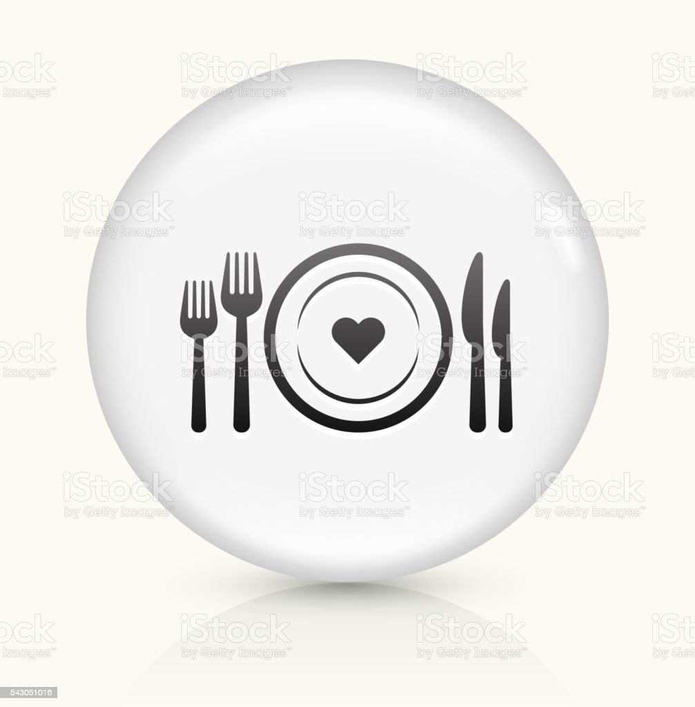 Love Plate icon on white round vector button vector art illustration