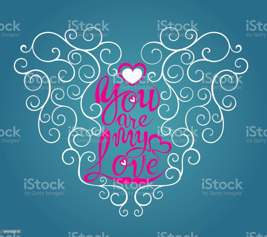 Love quote modern calligraphy vector art illustration