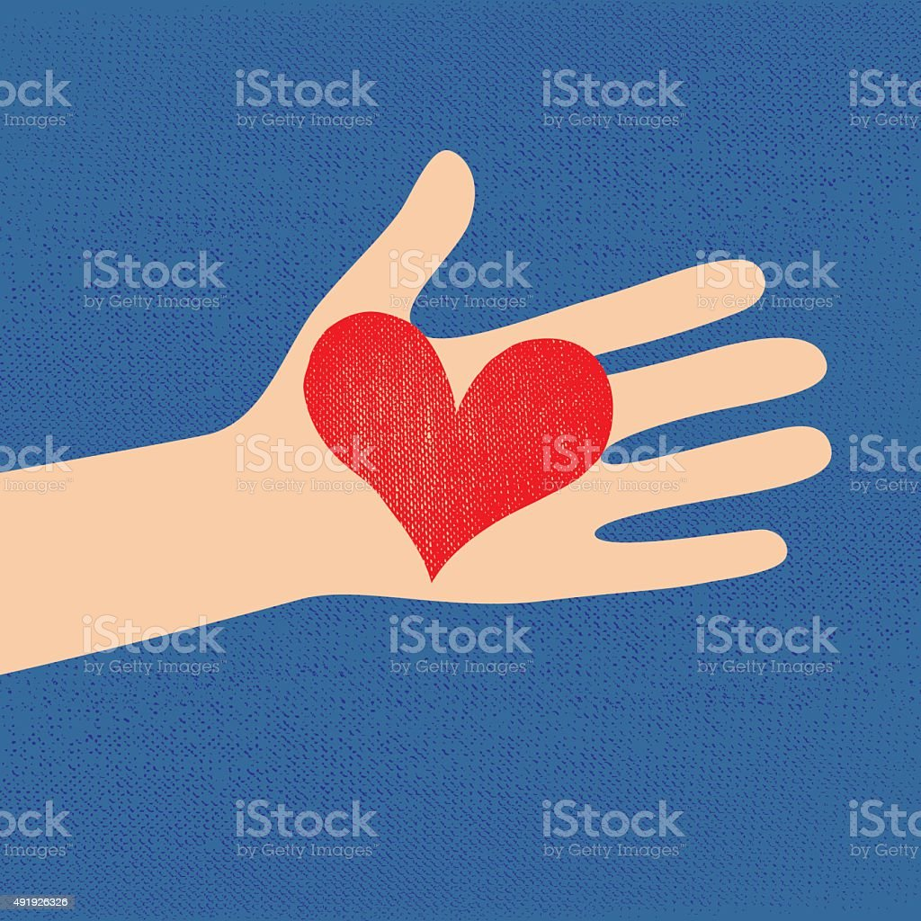 love red heart in hand to woman vector art illustration