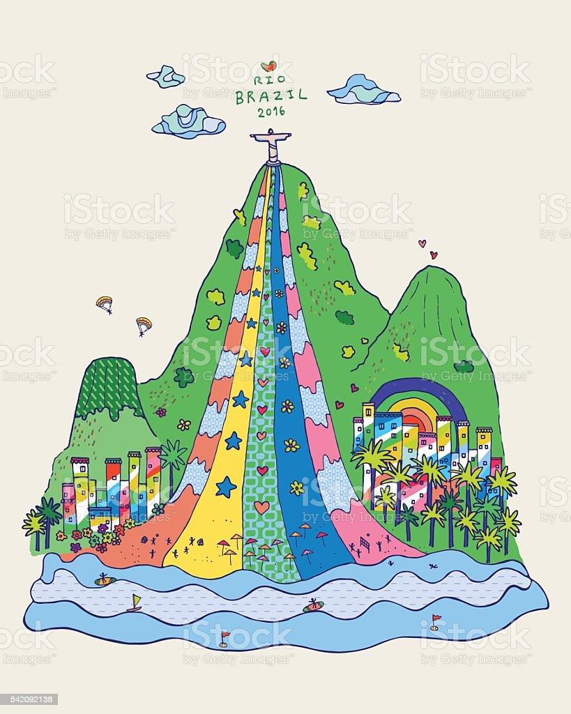 Love Rio Brazil Landmark Colorful Doodle Hand Drawn Vector Illustration. vector art illustration