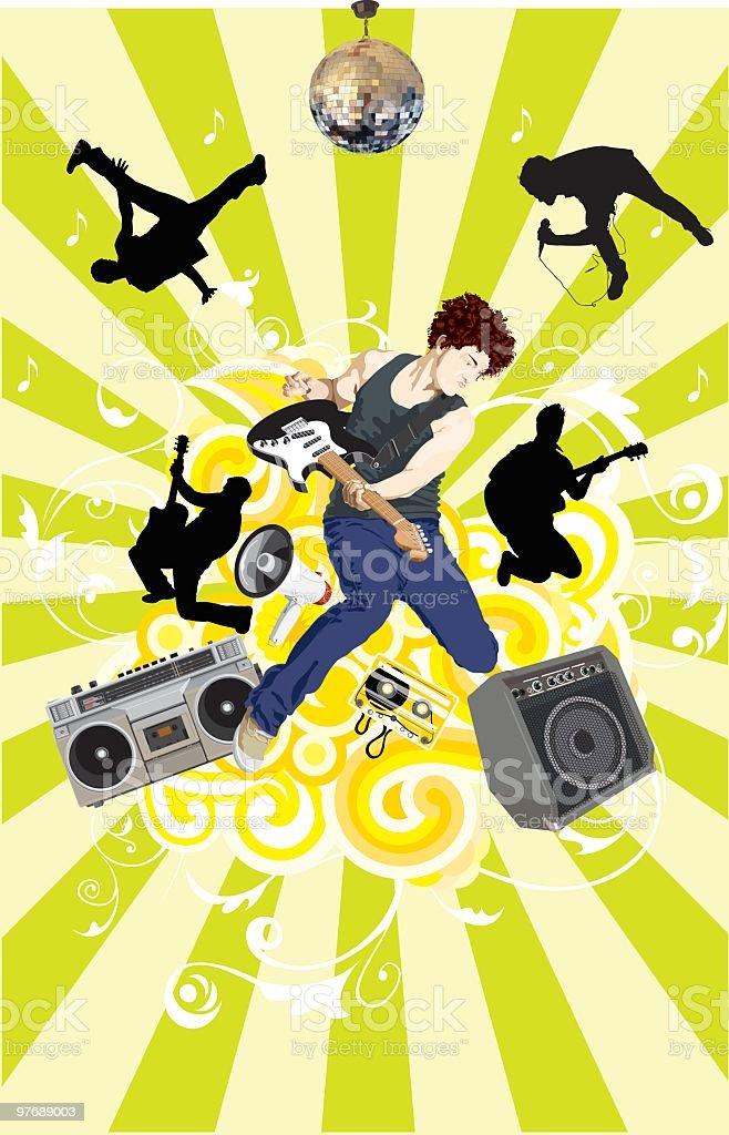 I love Rock and Roll vector art illustration