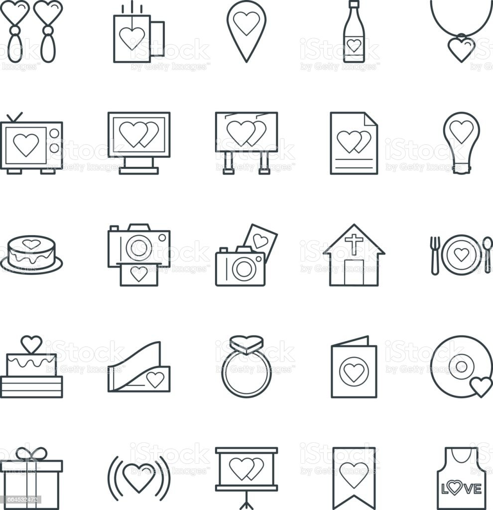Love & Romance Cool Vector Icons 3 vector art illustration