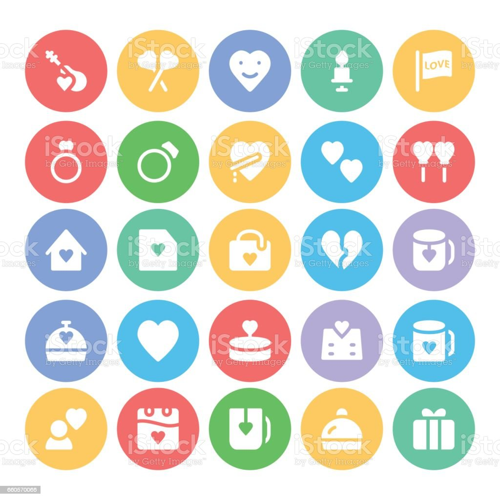 Love & Romance Vector Icons 6 vector art illustration