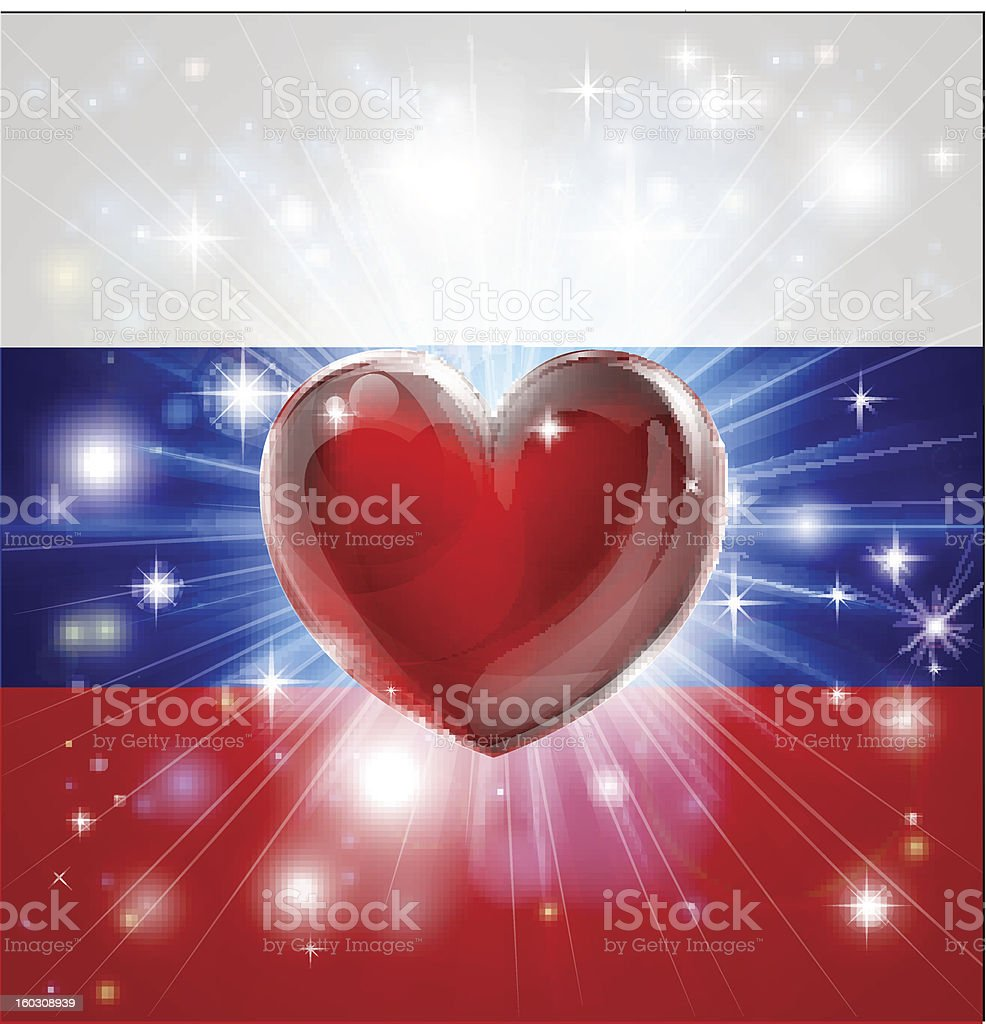 Love Russia flag heart background royalty-free stock vector art