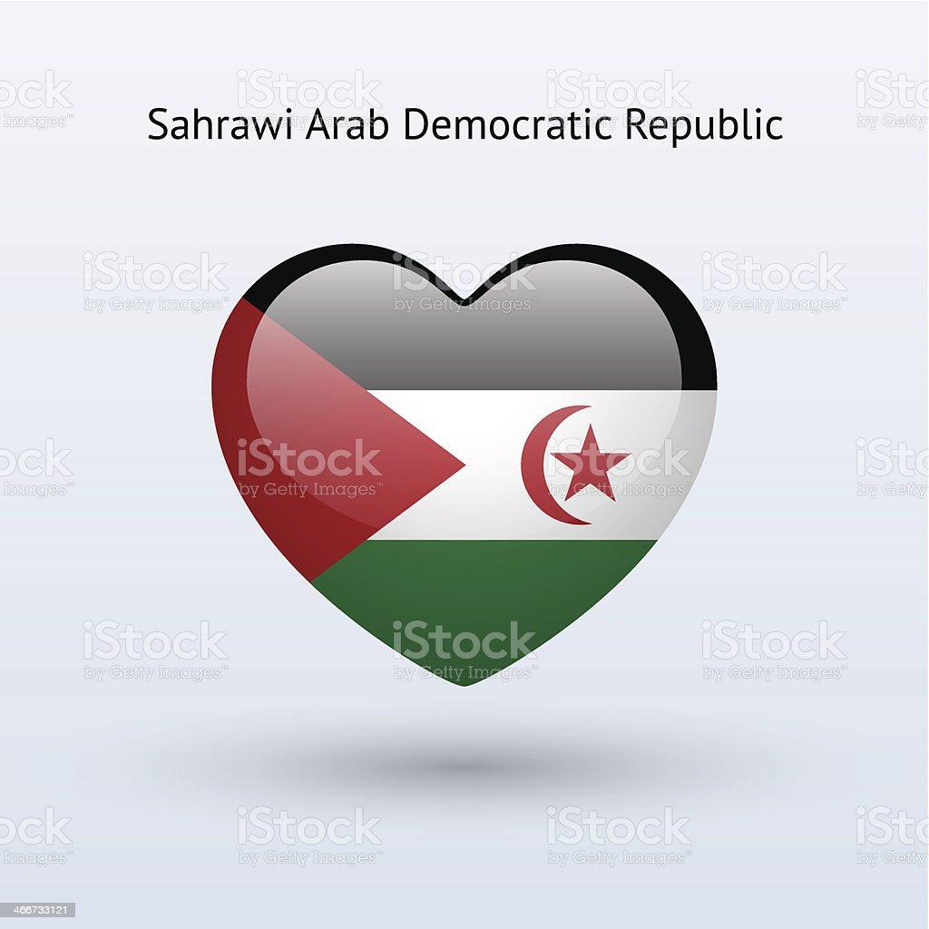 Love Sahrawi Arab Democratic Republic symbol. Heart flag icon. vector art illustration