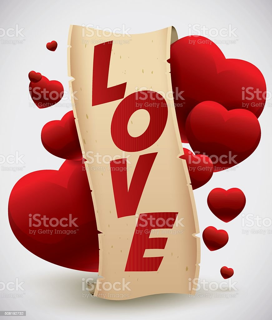 Love Scroll with Hearts Floating vector art illustration