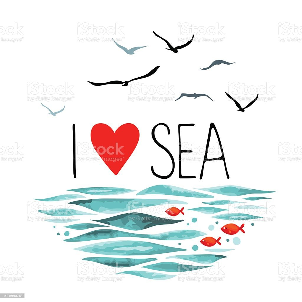 I Love Sea with seagulls, waves and red fish. vector art illustration