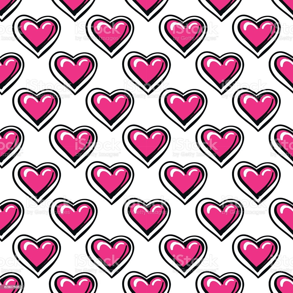 Love seamless pattern with pink hearts vector art illustration