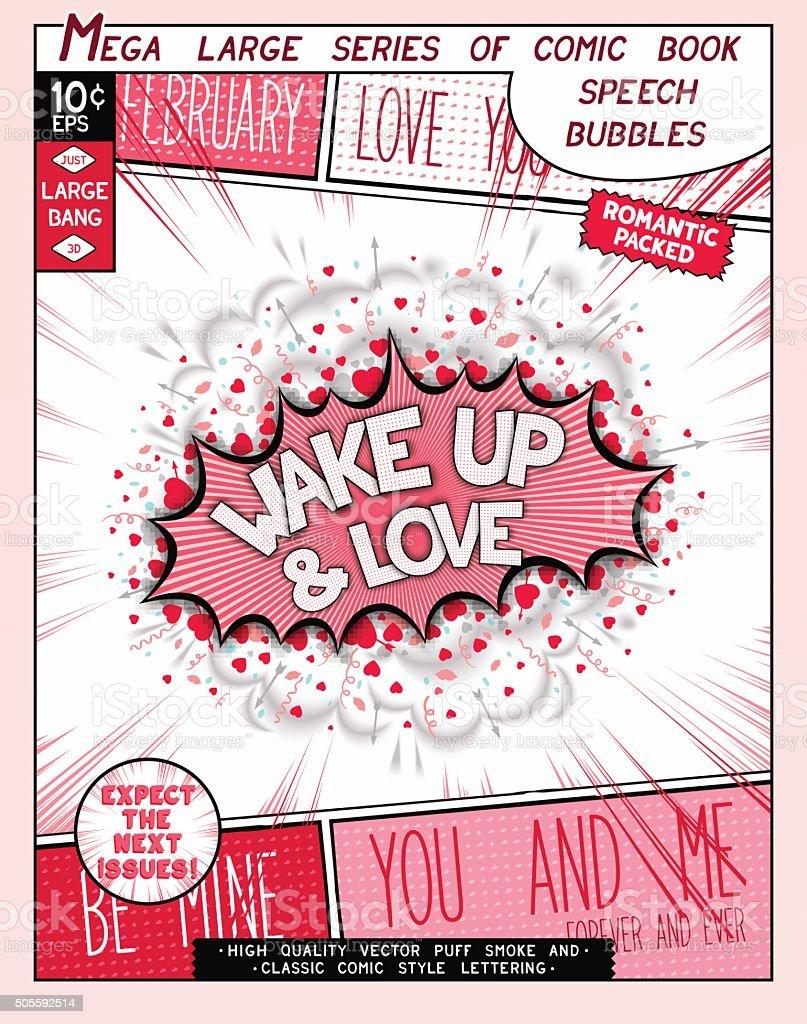 Love series pop art speech bubble vector art illustration