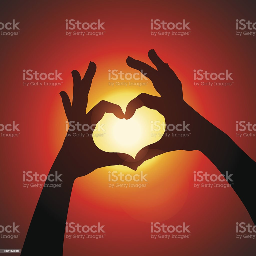 Love shape hands silhouette in sky royalty-free stock vector art
