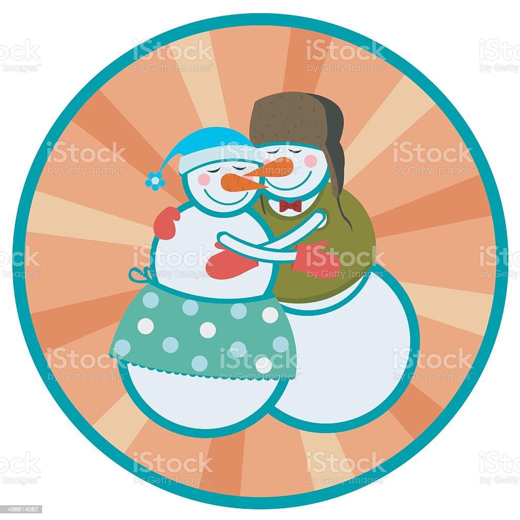 love snowmen vector art illustration