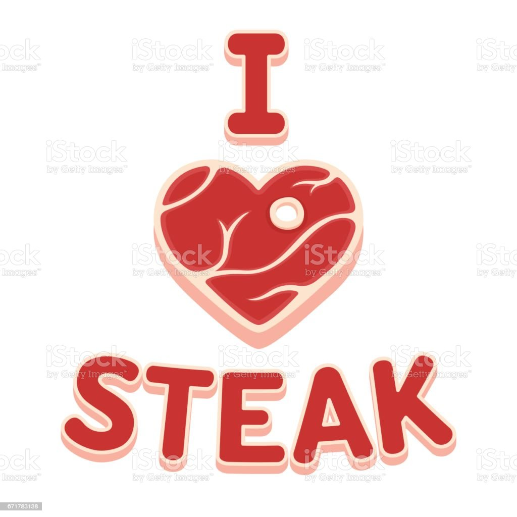 I love steak vector art illustration