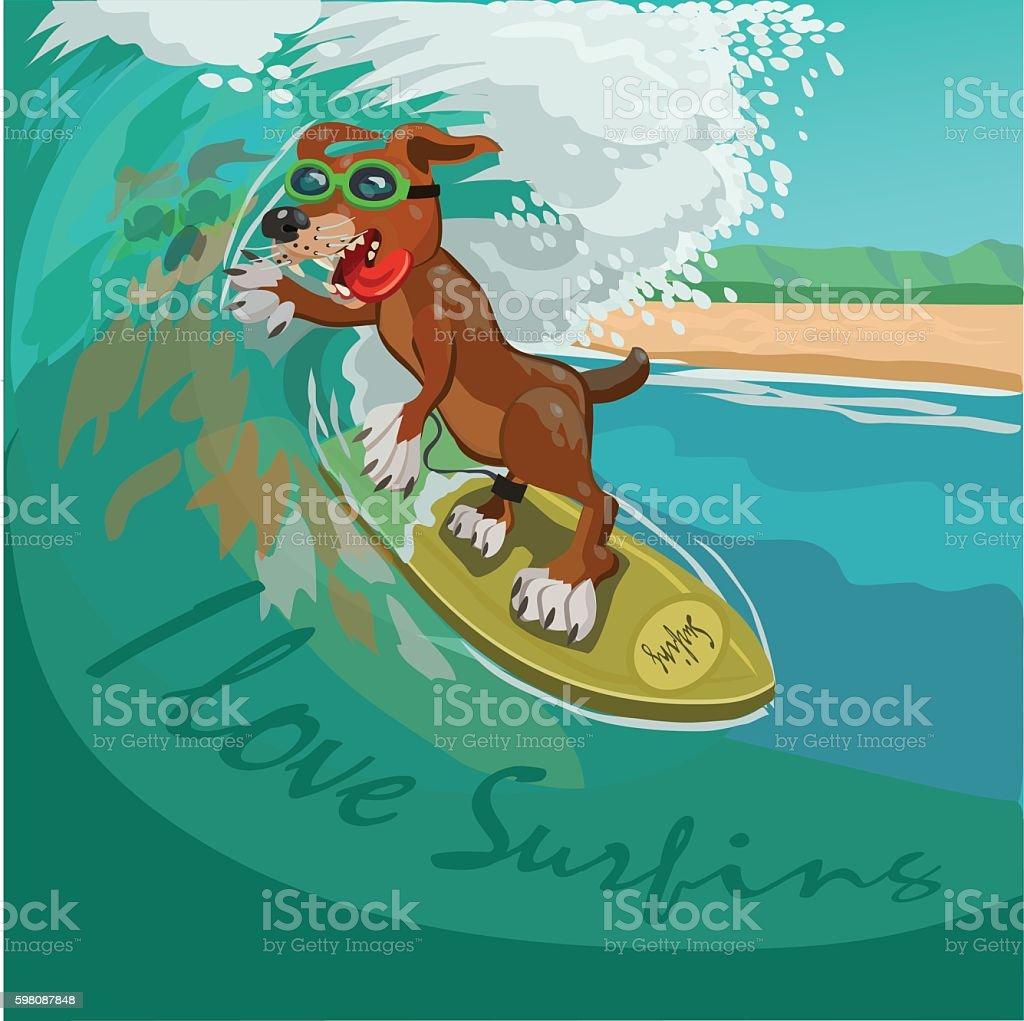 I love surfing vector art illustration