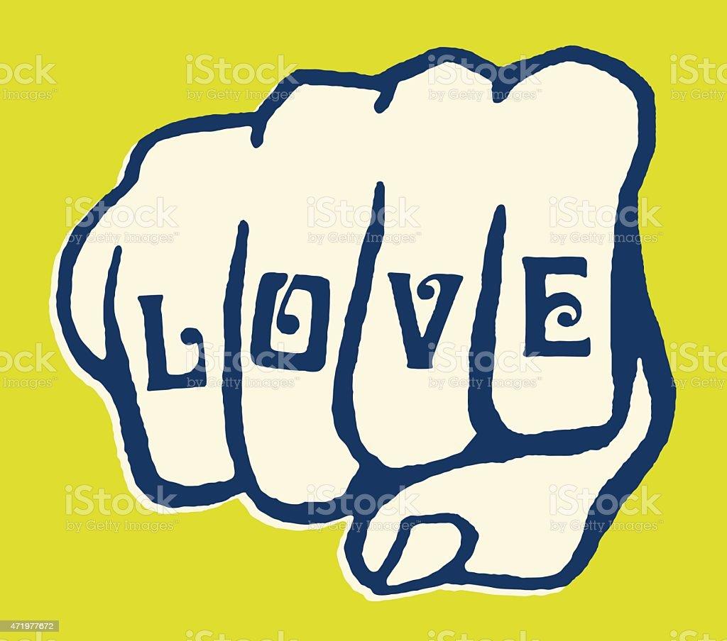 Love Tattoo on Knuckles vector art illustration