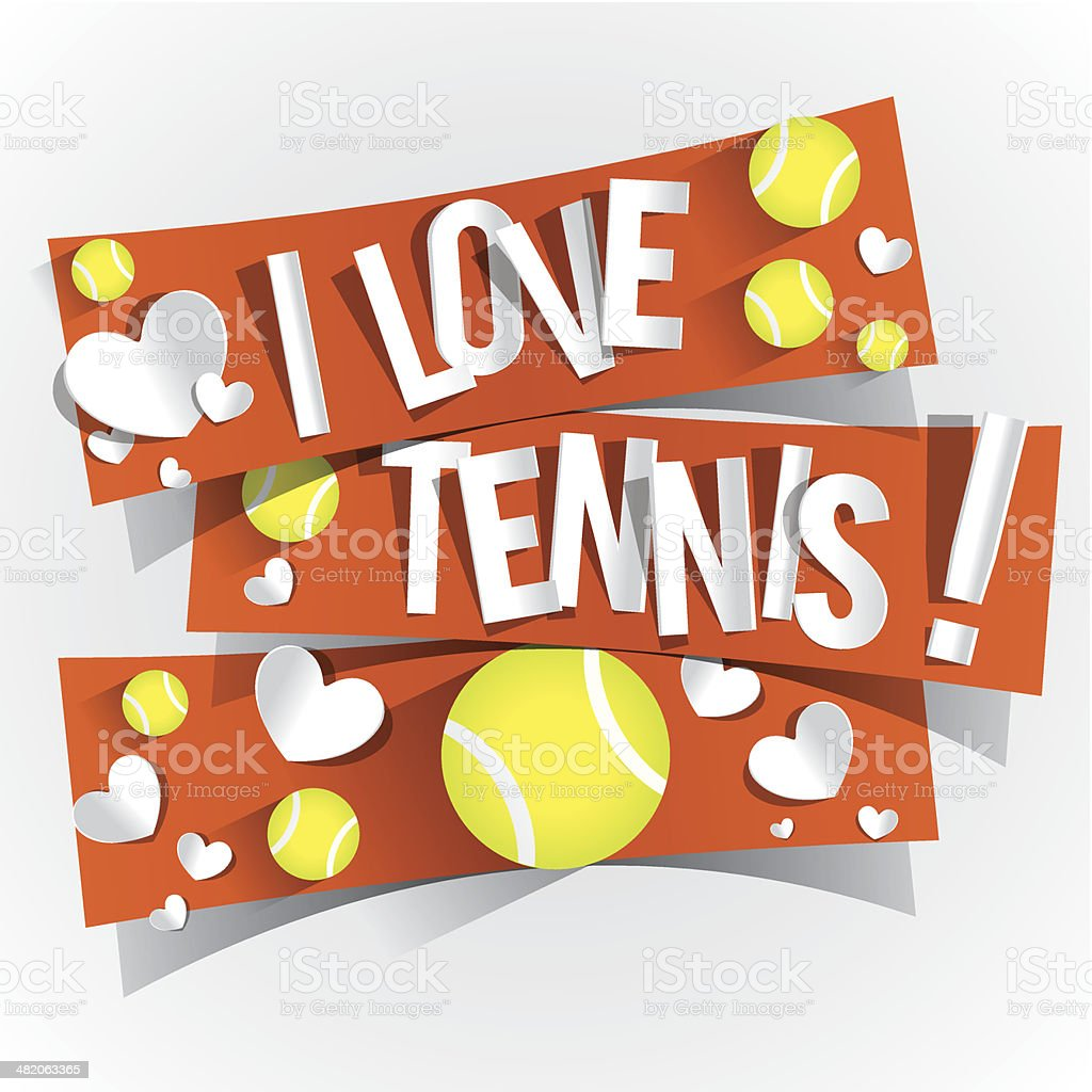 I Love Tennis vector art illustration