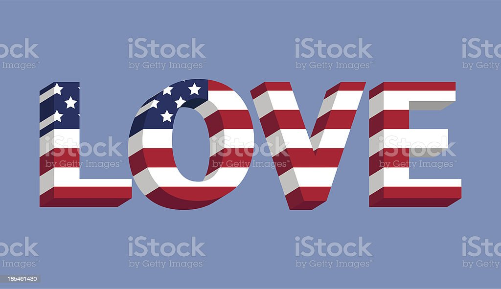 Love text with American flag illustration vector art illustration