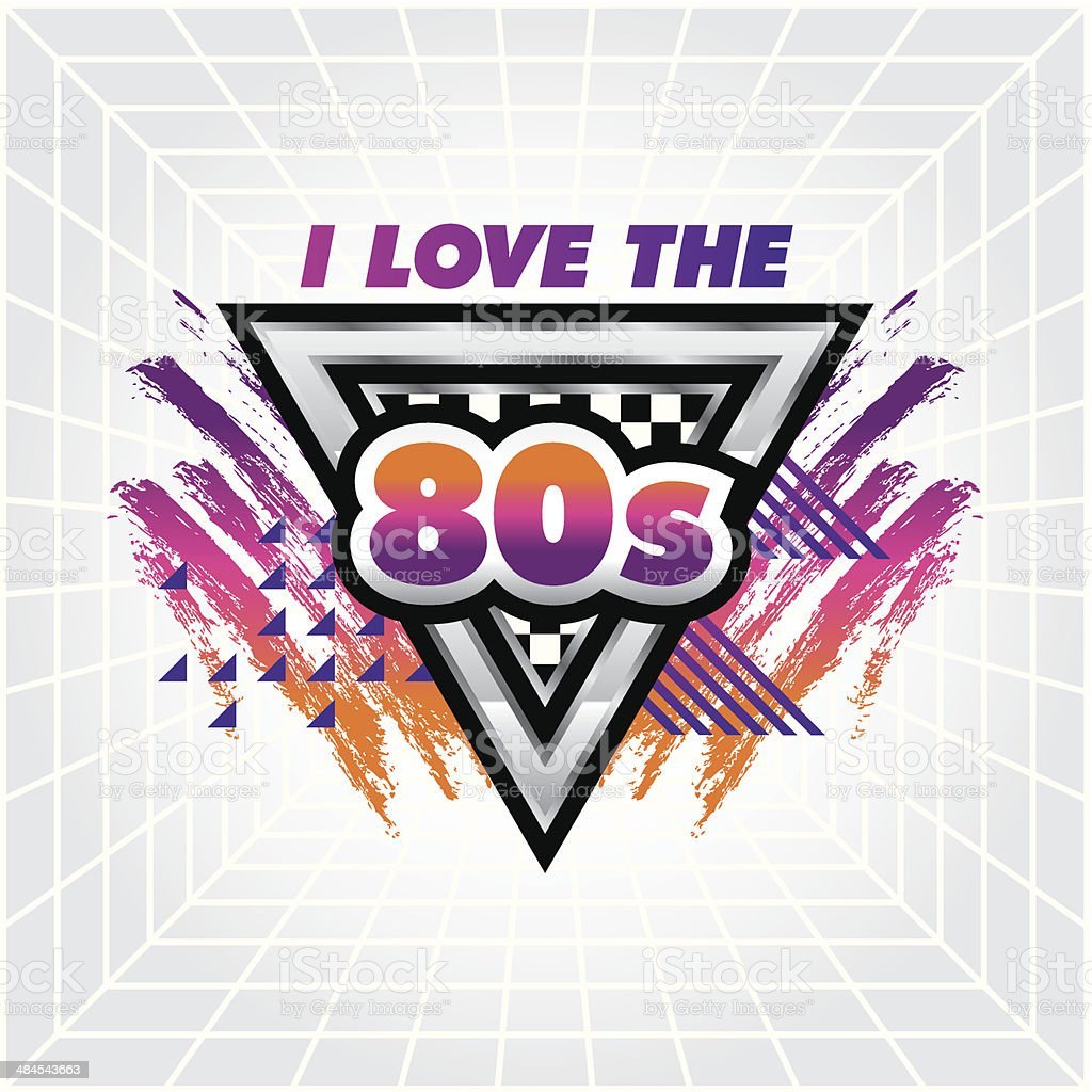 I love the 80's emblem vector art illustration