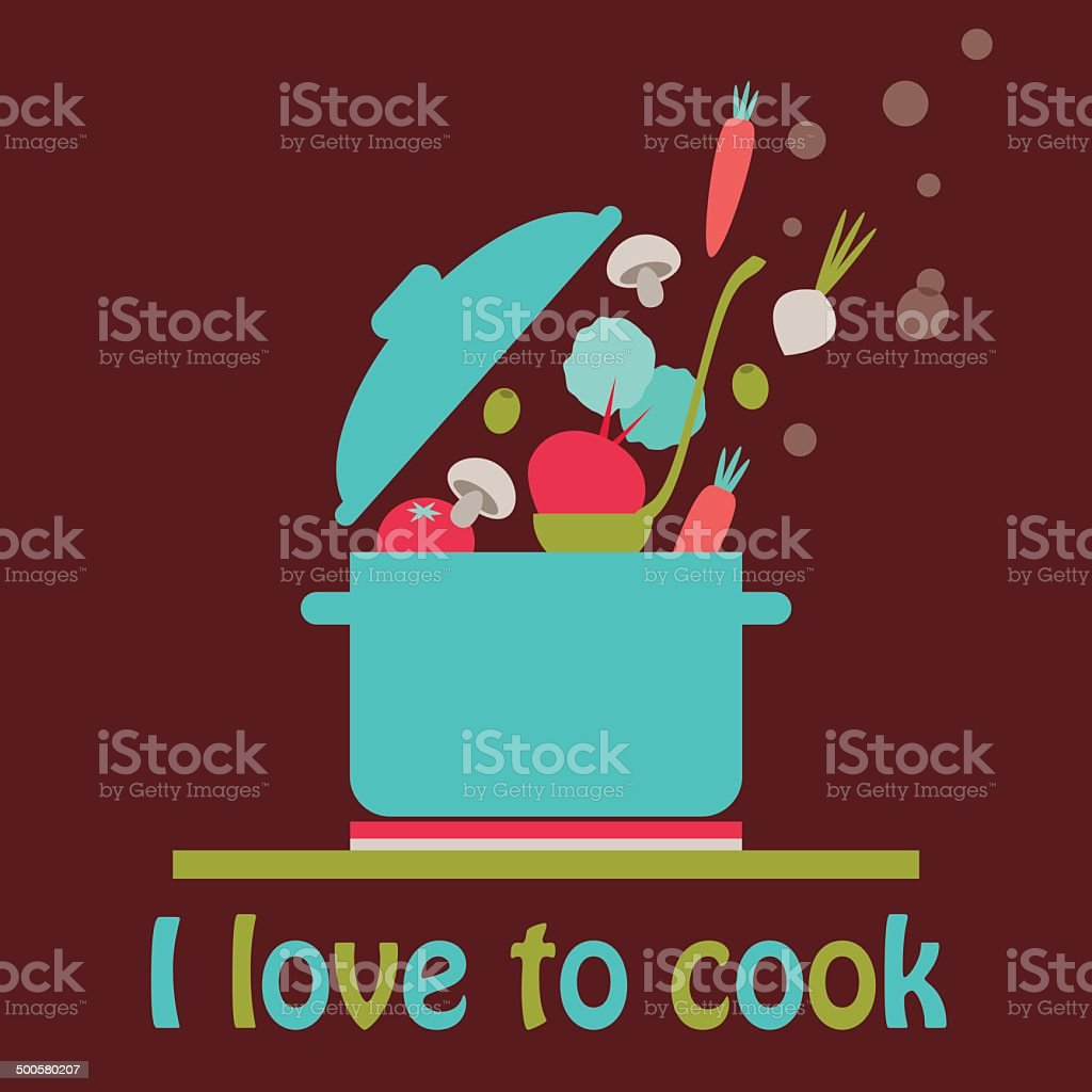 I love to cook vector card vector art illustration