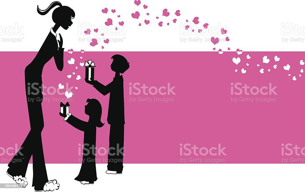 Love to mom vector art illustration
