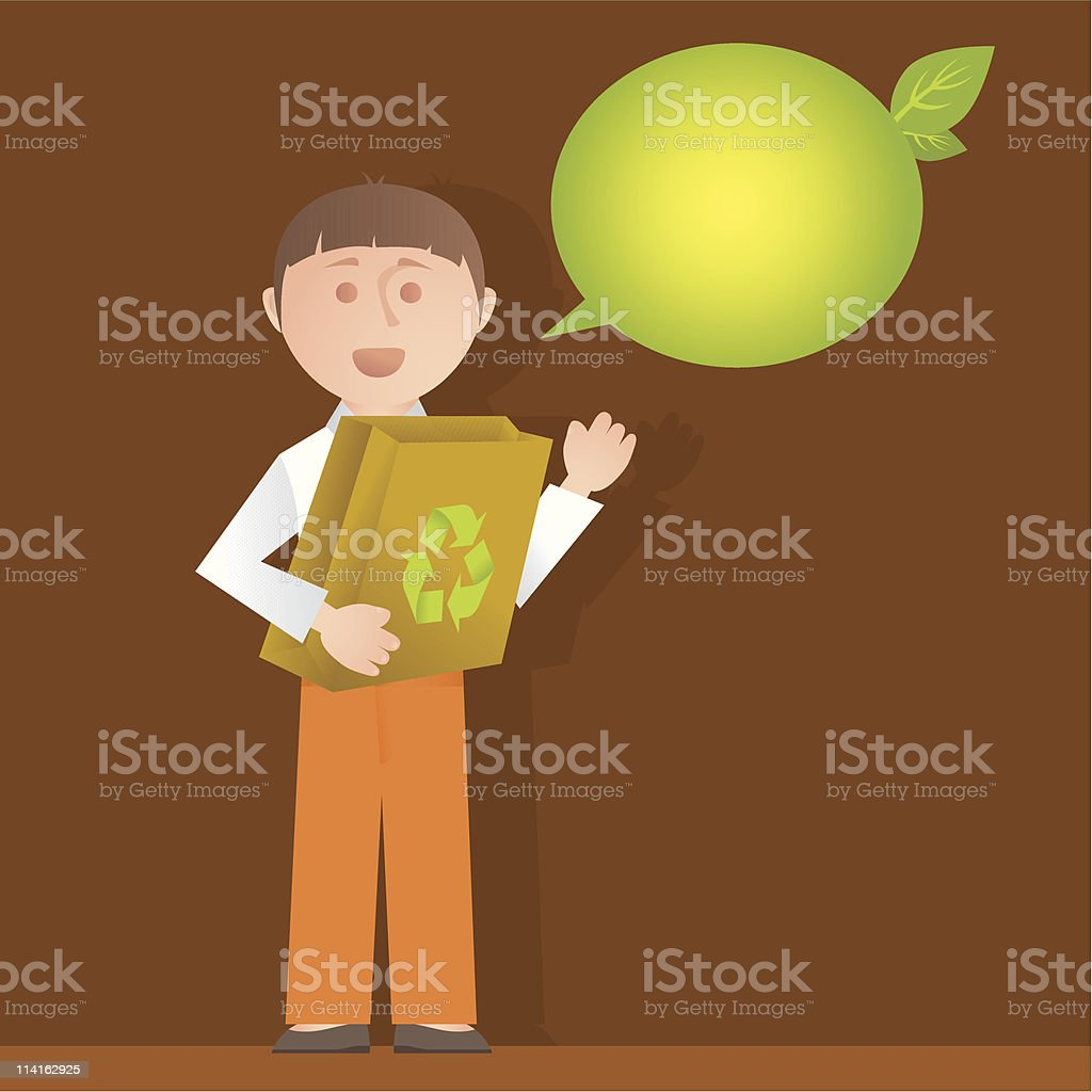 I love to recycle! vector art illustration