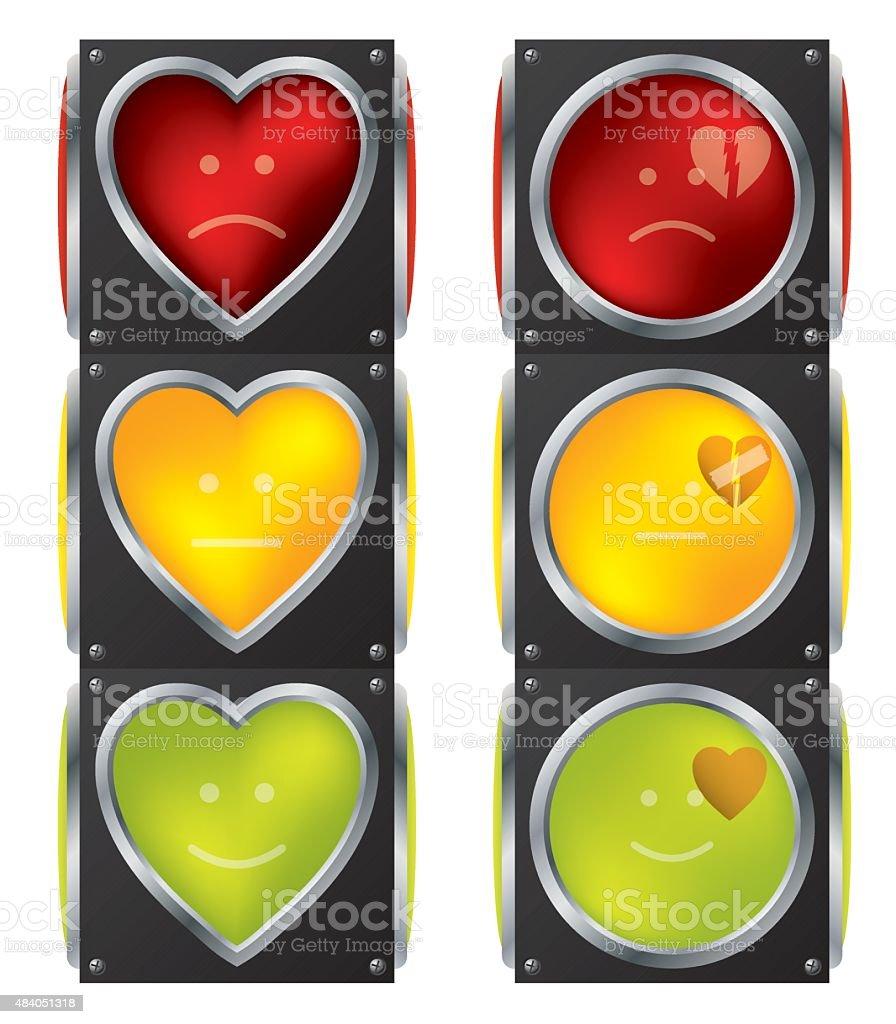 Love traffic lights vector art illustration