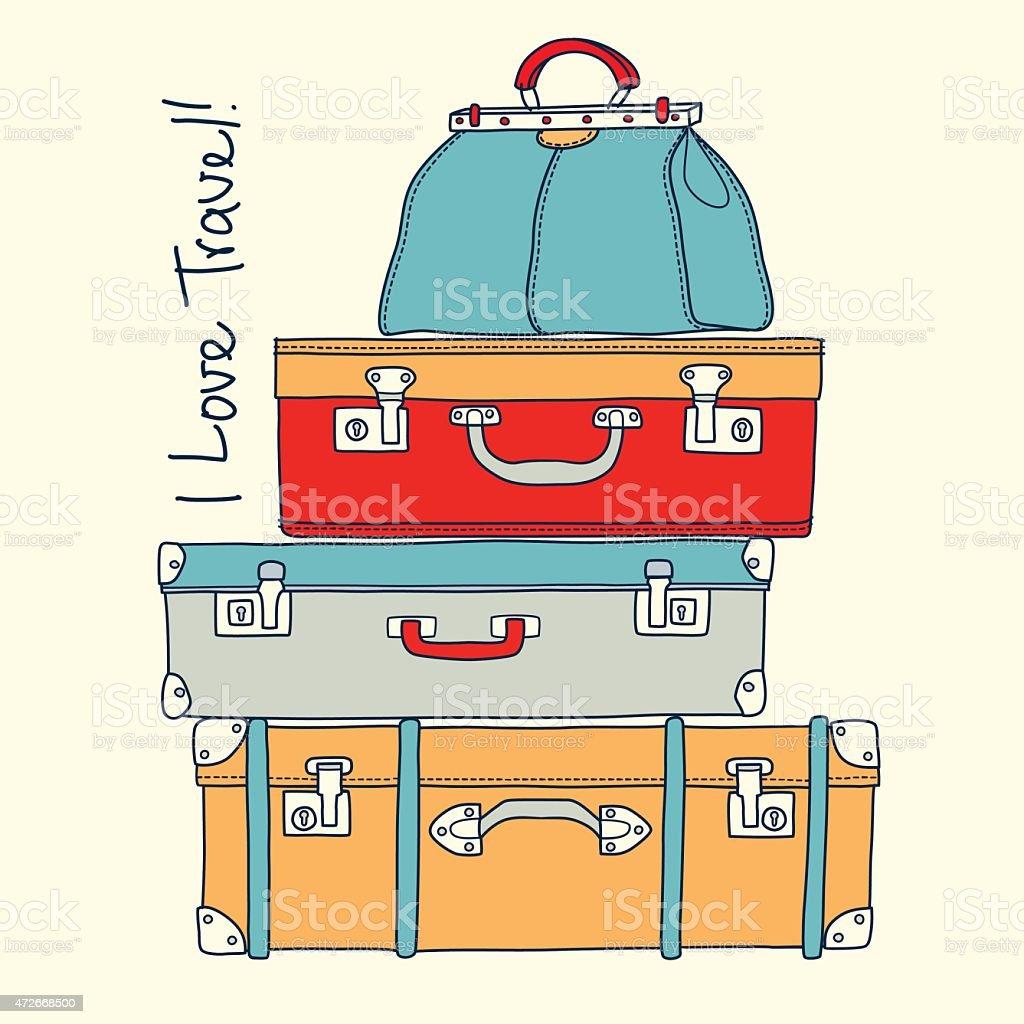 Eu adoro viajar.   Conceito de viagens com malas em vetor vintage vetor e ilustração royalty-free royalty-free
