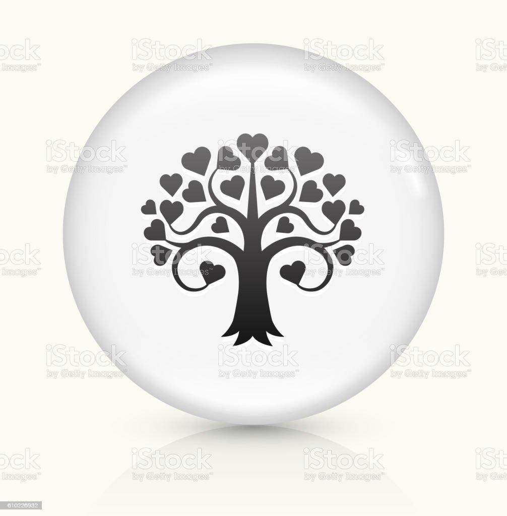 Love Tree icon on white round vector button vector art illustration