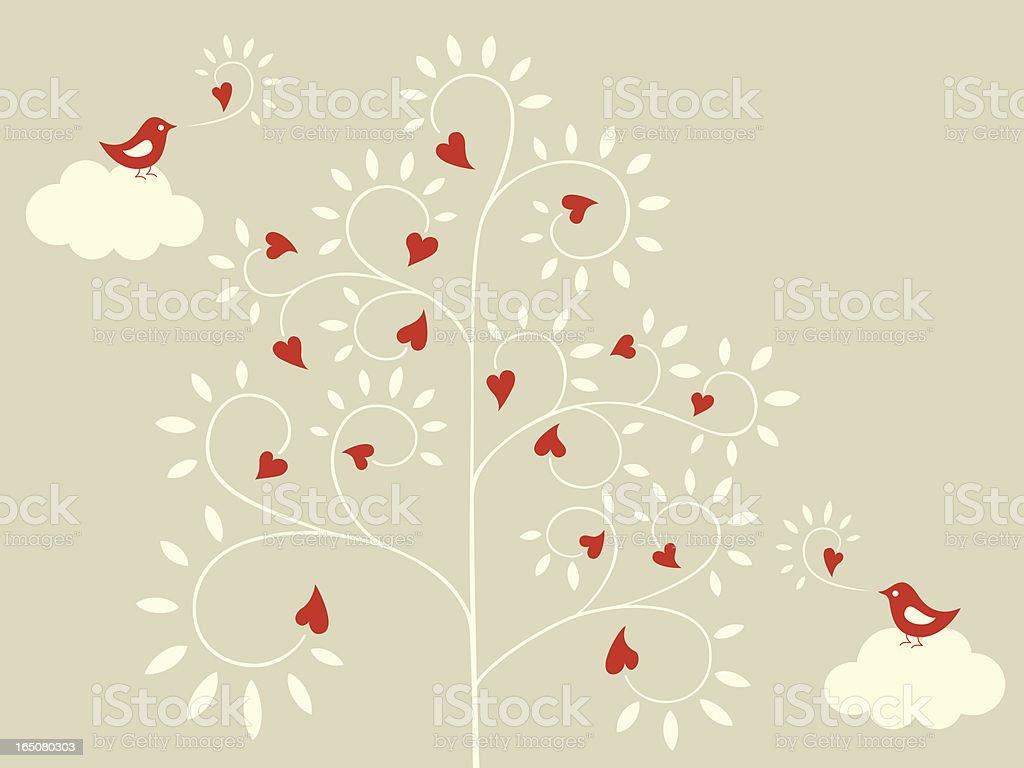 Love Tree & Little Birds royalty-free stock vector art