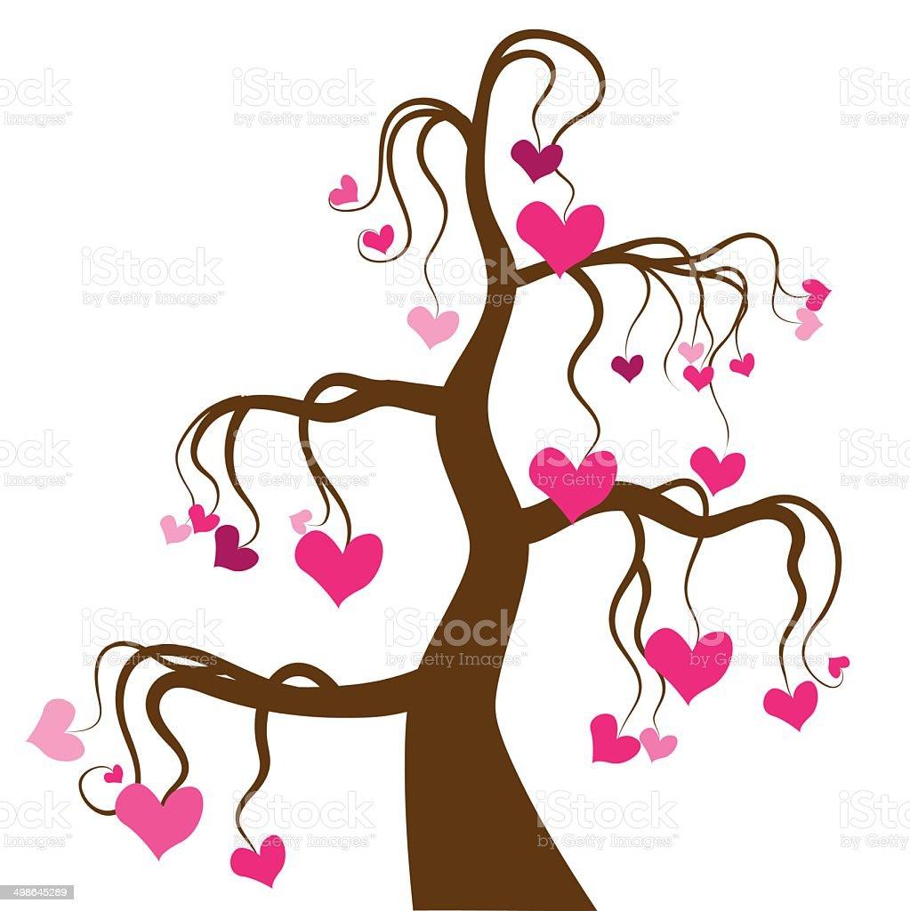 Love tree vector art illustration