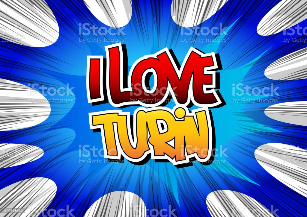 I Love Turin - Comic book style word. vector art illustration
