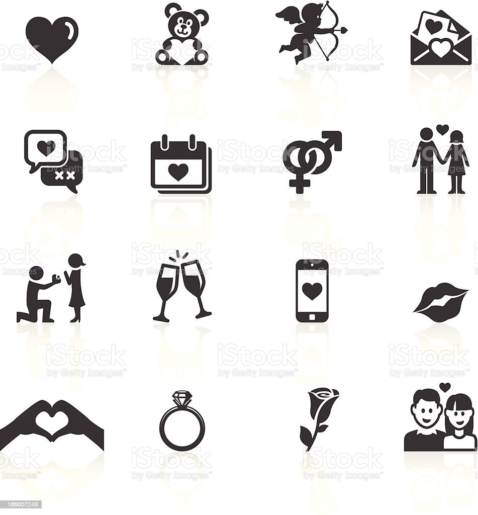 Love & Valentines Icons vector art illustration