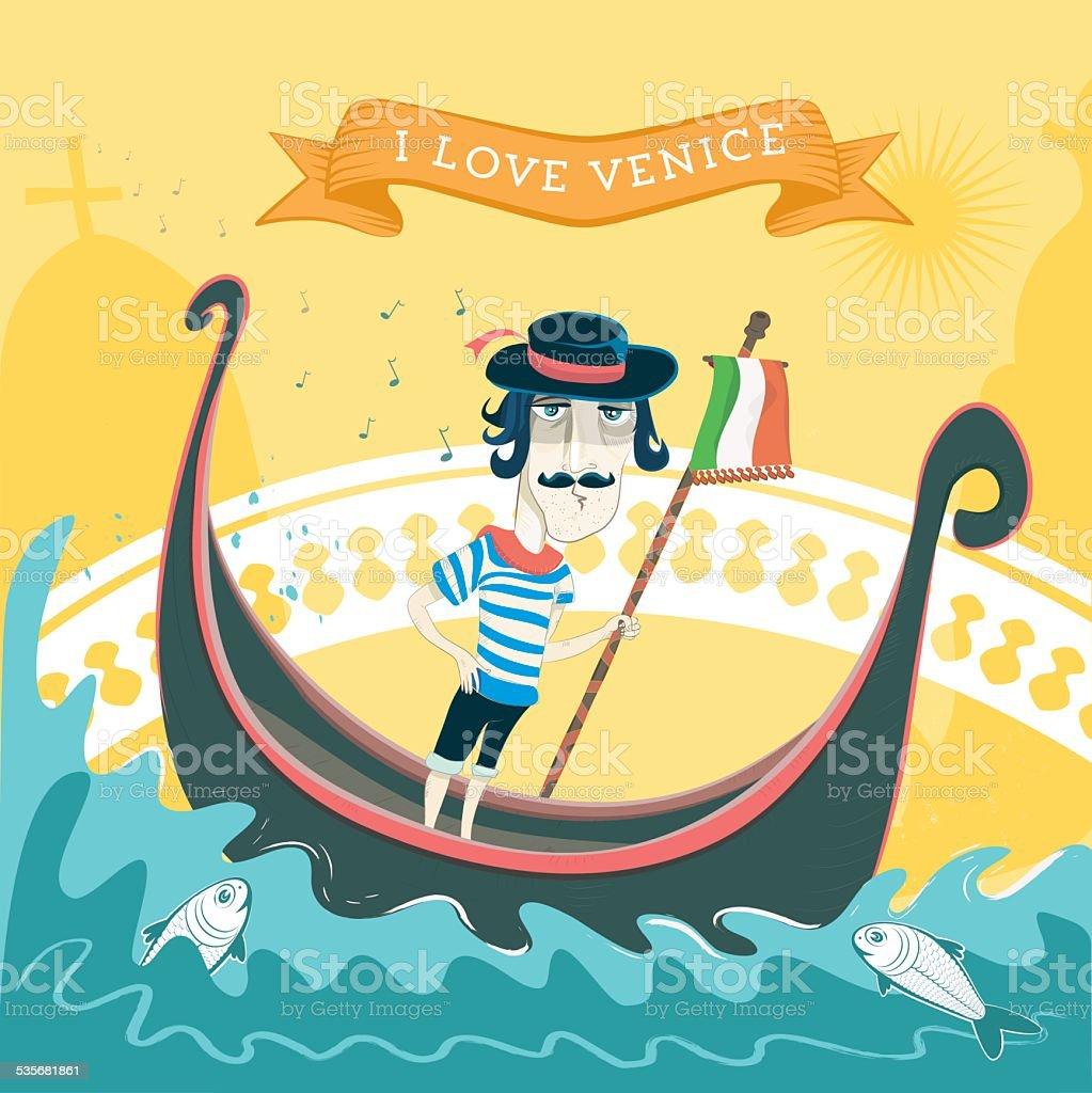 love venice vector art illustration