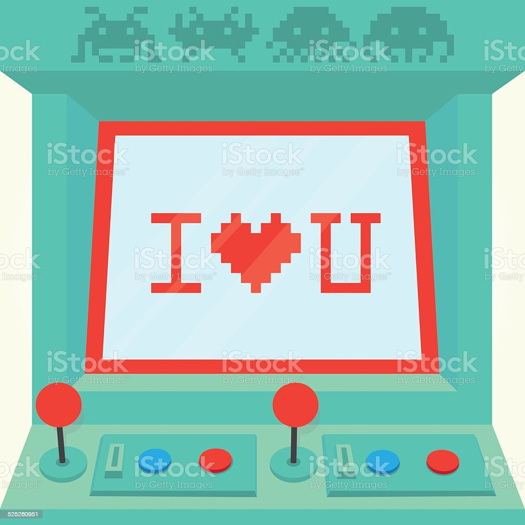 I love you arcade machine isolated vector vector art illustration