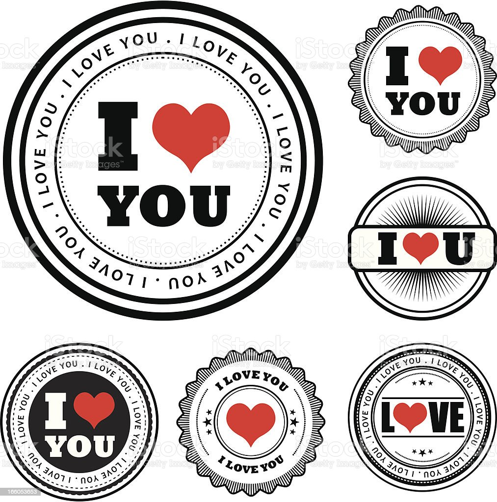 I Love You badges royalty-free stock vector art