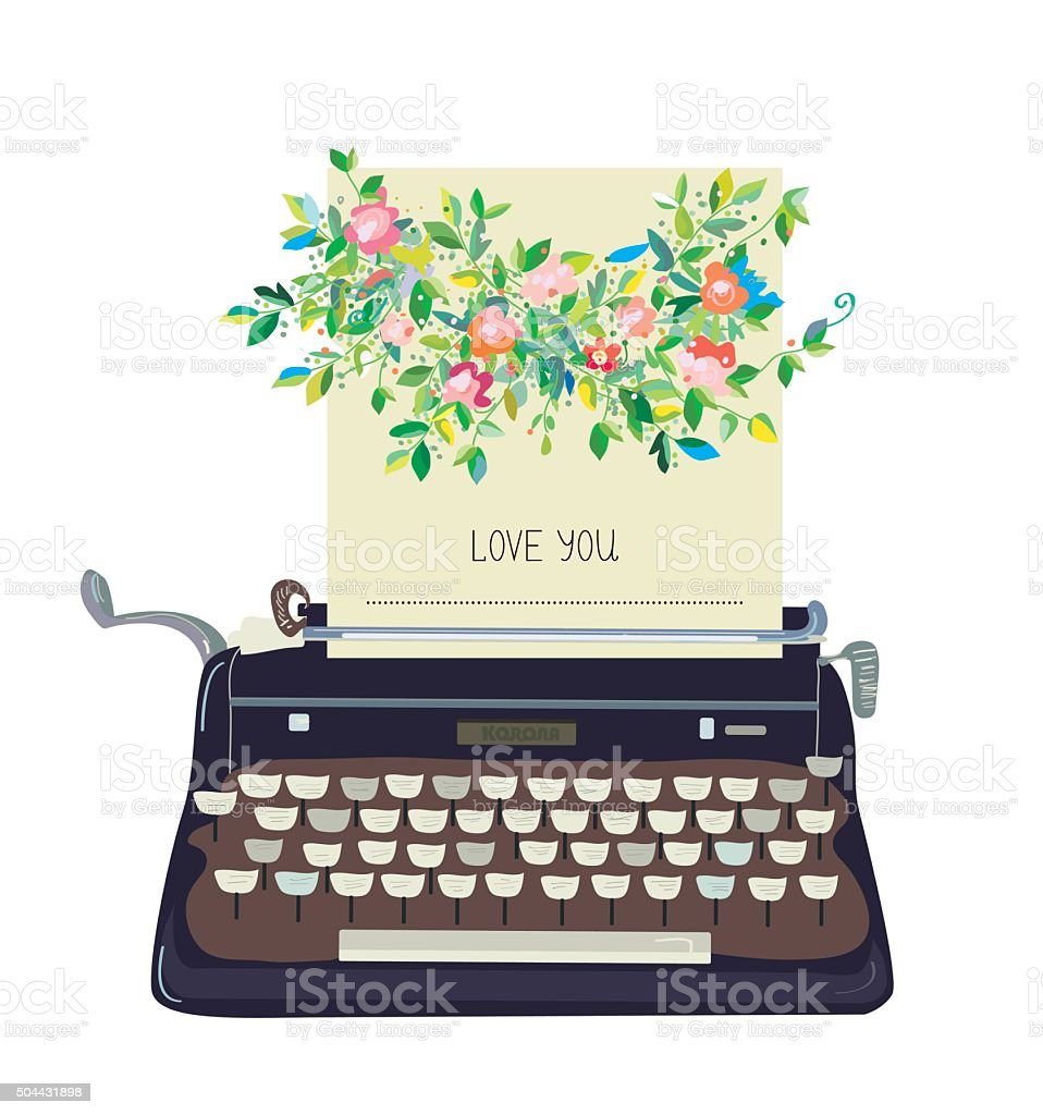 Love you card with typewriter and flower - conceptual illustration vector art illustration