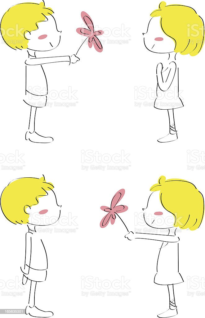 I love you, cute boy giving flower to girl royalty-free stock vector art