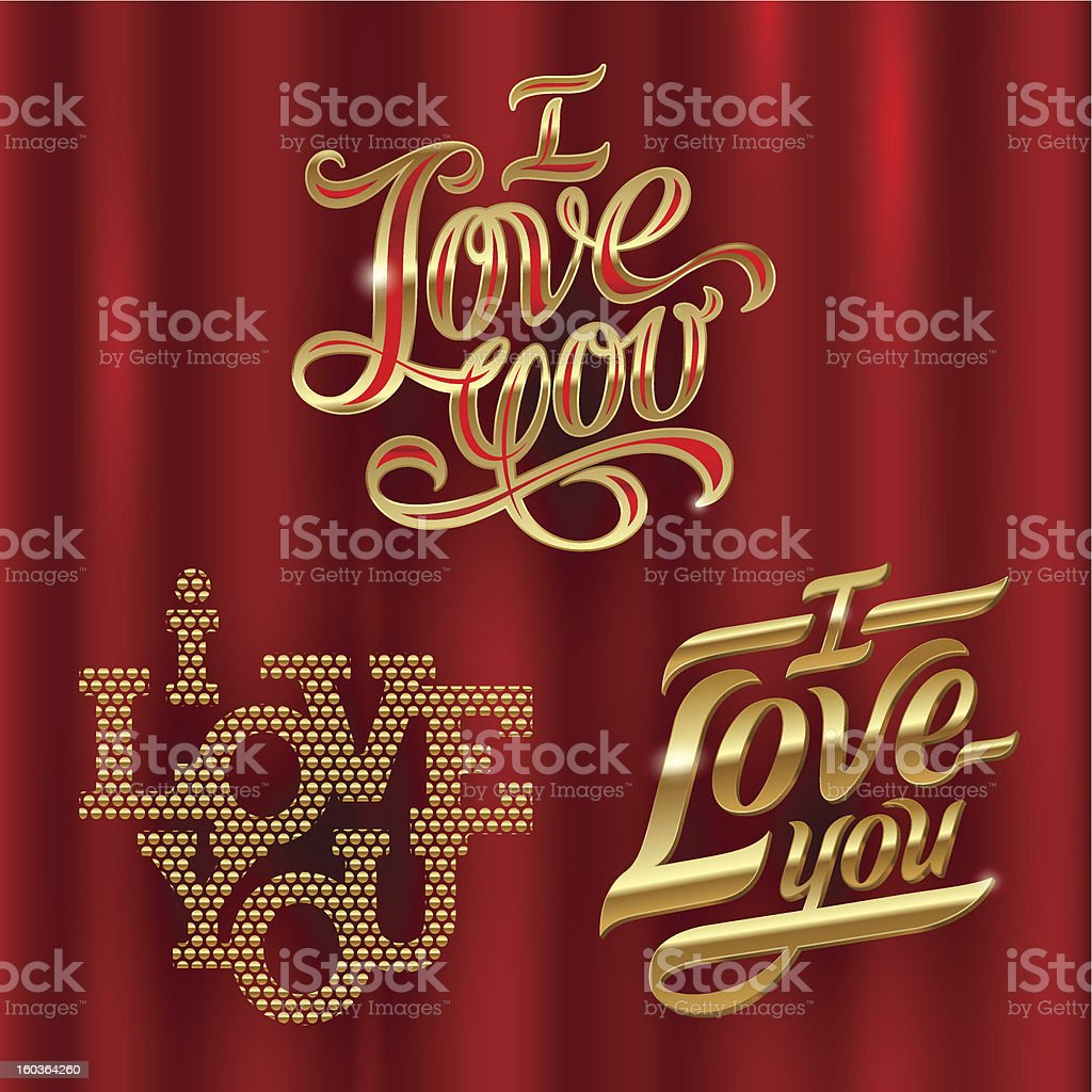 I Love You - golden decorative vector lettering royalty-free stock vector art
