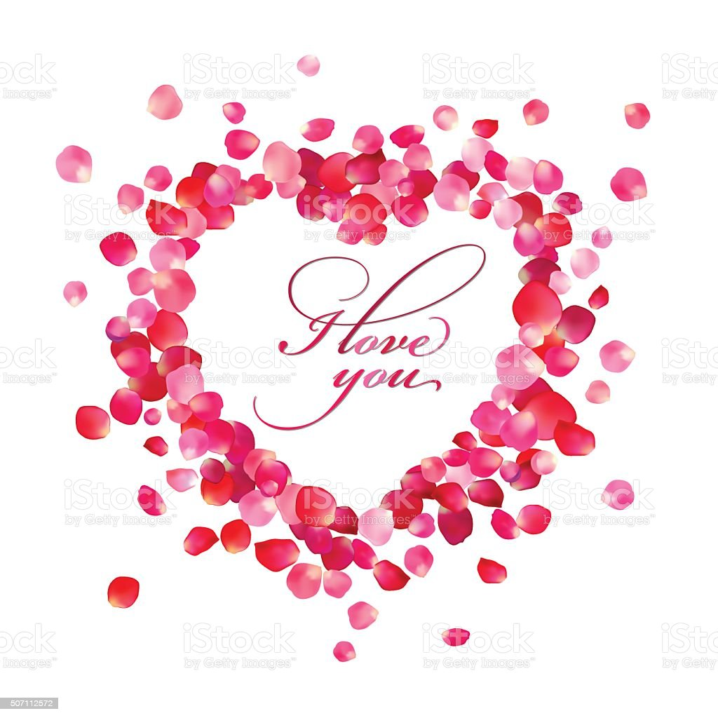 I love you inside the heart of rose petals vector art illustration