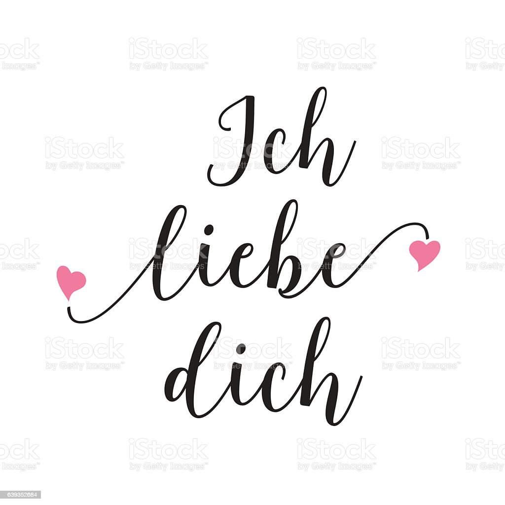 Ich Liebe Dich Lettering stock vector art 639352684 | iStock