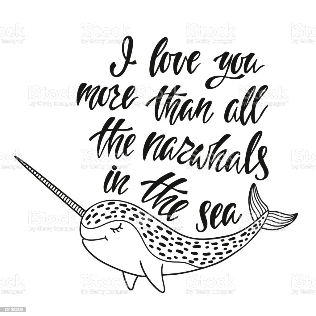 i love you more than all the narwhals in the sea stock vector art