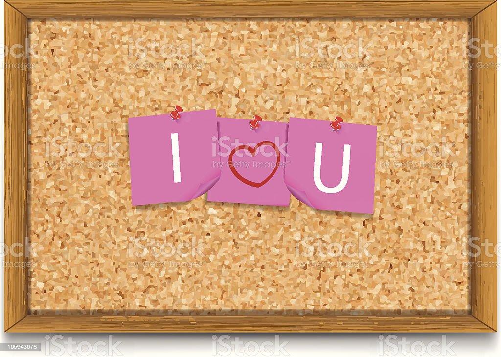 I Love You | Notes on Corkboard vector art illustration