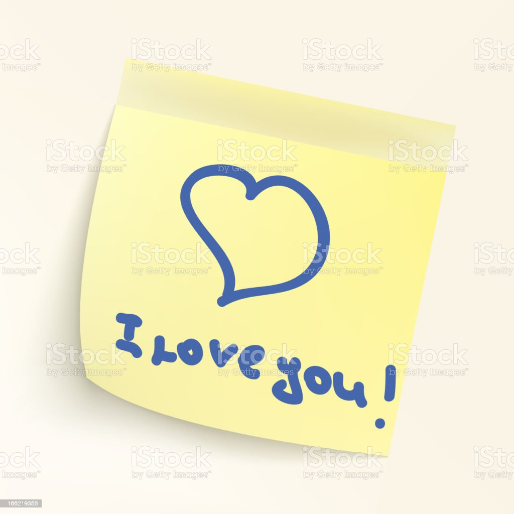 I love you paper note. EPS 8 royalty-free stock vector art