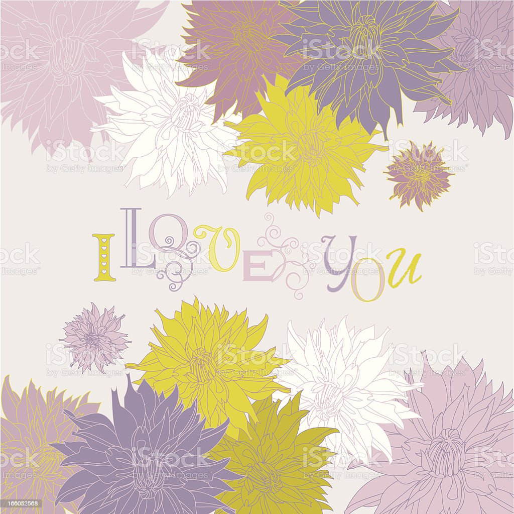 I Love You (Dahlia Greetings Card) royalty-free stock vector art