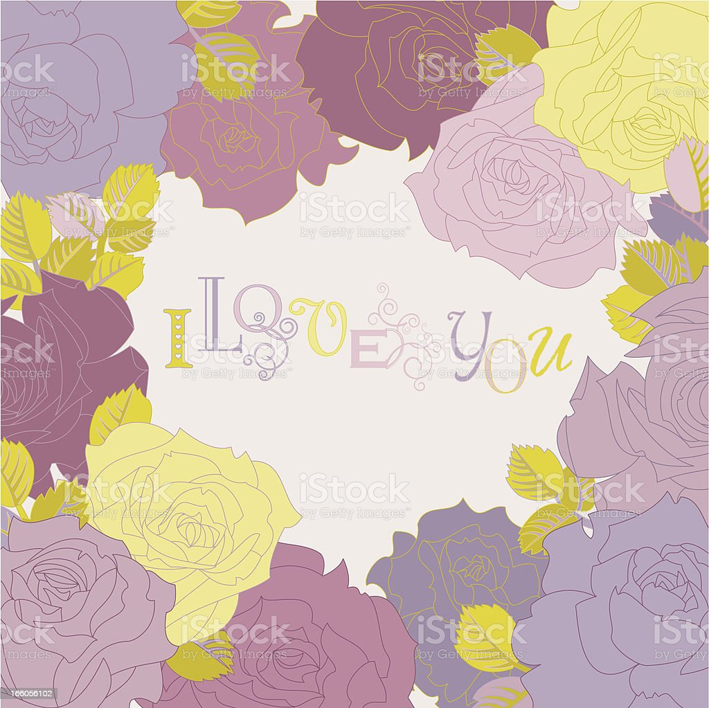 I Love You (Rose Greetings Card) royalty-free stock vector art