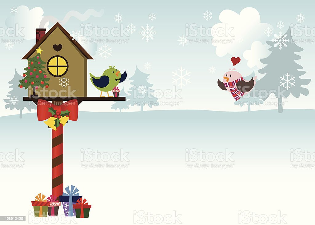 Lovebirds Sweet Home Welcoming for the Holidays vector art illustration