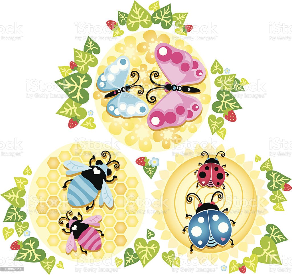 Lovebugs and Strawberries royalty-free stock vector art