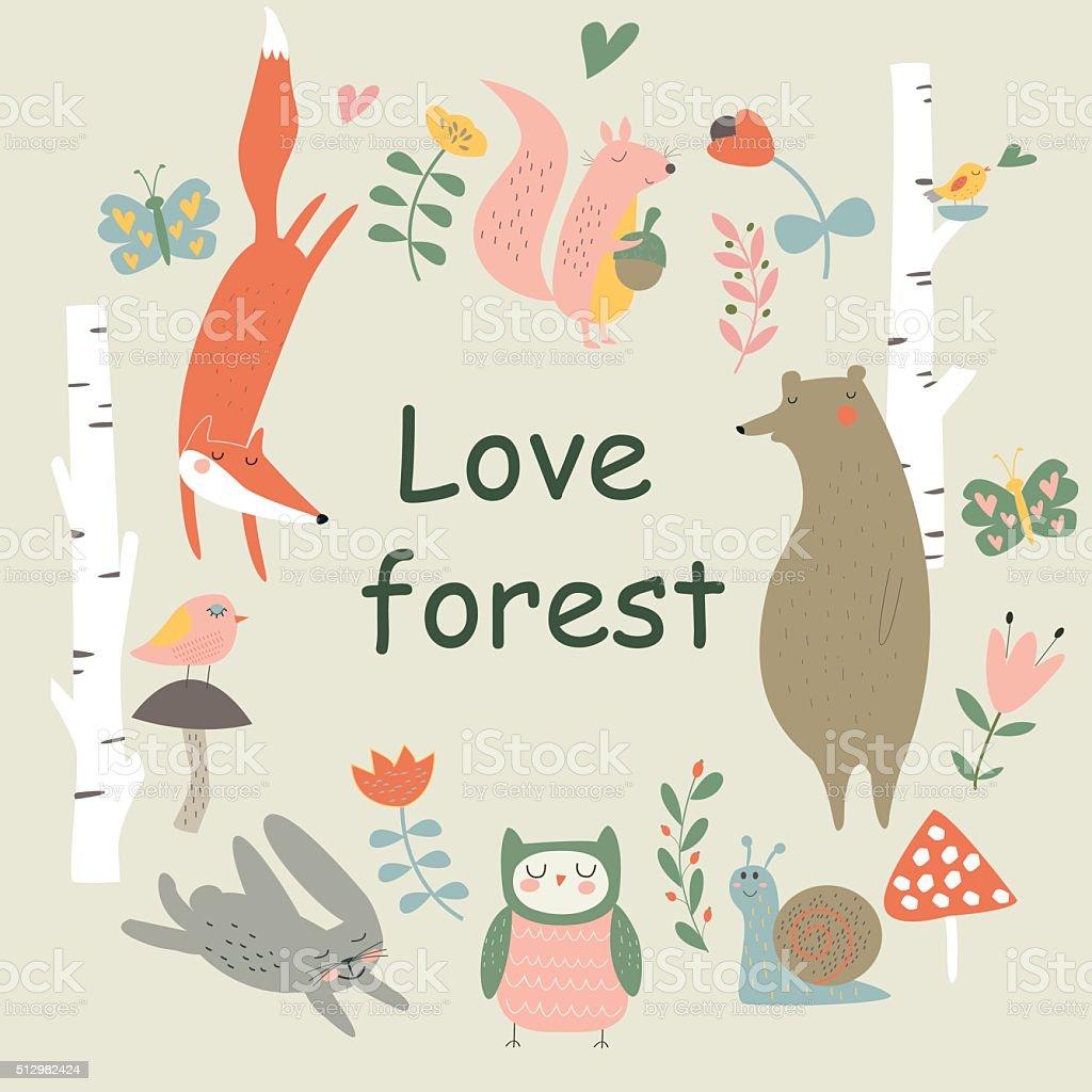 loveforestbirchwreath vector art illustration