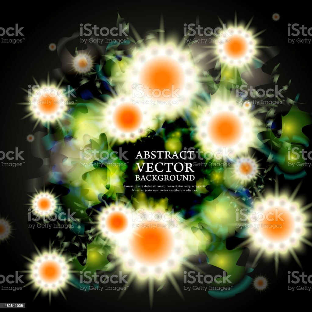 lovely attractive background with sparkling flowers vector art illustration