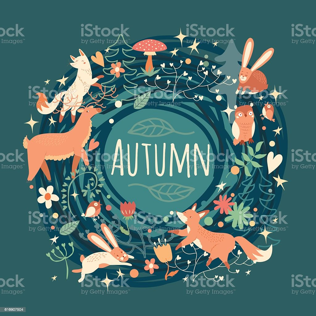 Lovely Autumn concept card with awesome animals in vector. vector art illustration